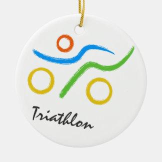 Triathlon logo round ceramic decoration