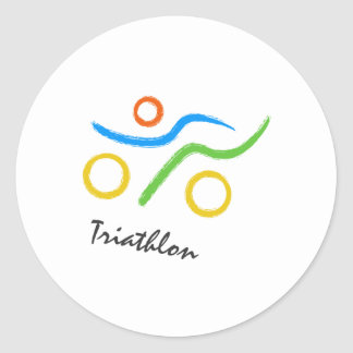 Triathlon logo round sticker