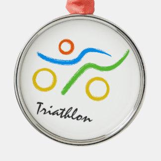 Triathlon logo Silver-Colored round decoration