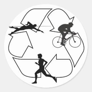 Triathlon Man Classic Round Sticker