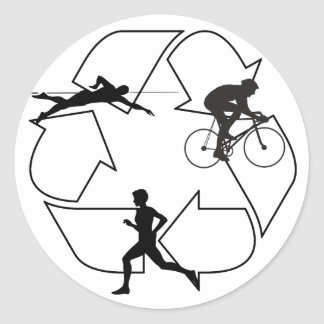 Triathlon Man Round Sticker