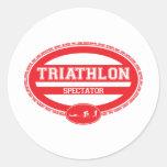 Triathlon Oval Round Stickers