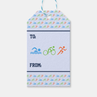 Triathlon pattern sports themed gift tags