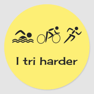 Triathlon pictograms and caption yellow round sticker