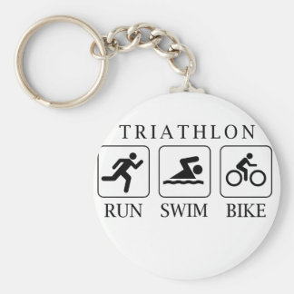 Triathlon run, swim and bike basic round button key ring