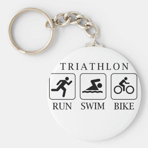Triathlon run, swim and bike key chain