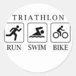 Triathlon run, swim and bike stickers
