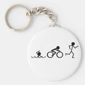 Triathlon Stick Figures Basic Round Button Key Ring
