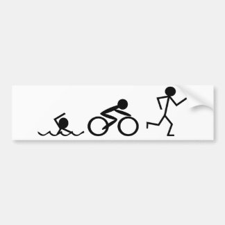 Triathlon Stick Figures Bumper Sticker