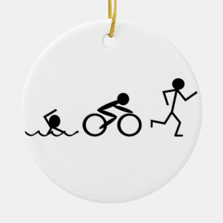 Triathlon Stick Figures Christmas Ornament