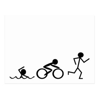 Triathlon Stick Figures Postcard