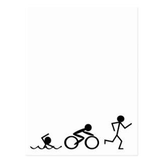 Triathlon Stick Figures Postcard
