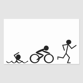 Triathlon Stick Figures Rectangular Sticker