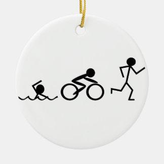 Triathlon Stick Figures Round Ceramic Decoration