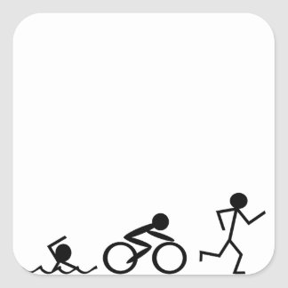 Triathlon Stick Figures Square Sticker