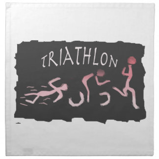 Triathlon Swim Bike Run Abstract in Black Napkin