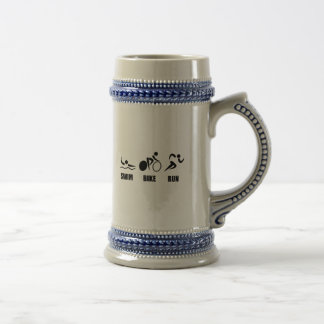 Triathlon Swim Bike Run Beer Stein