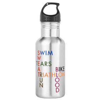 Triathlon Swim Bike Run Blood Sweat Tears 532 Ml Water Bottle