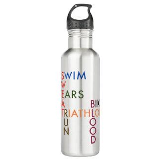 Triathlon Swim Bike Run Blood Sweat Tears 710 Ml Water Bottle