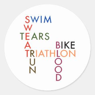 Triathlon Swim Bike Run Blood Sweat Tears Classic Round Sticker