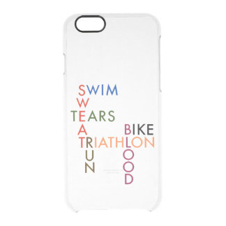 Triathlon Swim Bike Run Blood Sweat Tears Clear iPhone 6/6S Case
