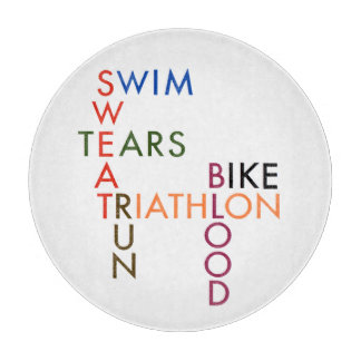 Triathlon Swim Bike Run Blood Sweat Tears Cutting Board