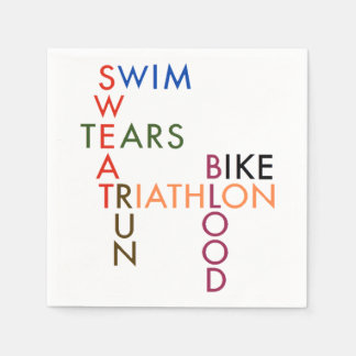 Triathlon Swim Bike Run Blood Sweat Tears Disposable Napkin