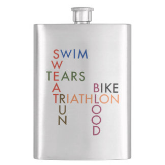 Triathlon Swim Bike Run Blood Sweat Tears Hip Flask