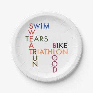 Triathlon Swim Bike Run Blood Sweat Tears Paper Plate