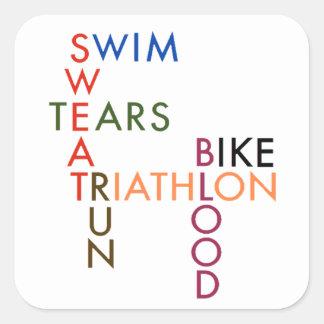 Triathlon Swim Bike Run Blood Sweat Tears Square Sticker