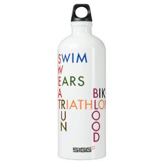 Triathlon Swim Bike Run Blood Sweat Tears Water Bottle