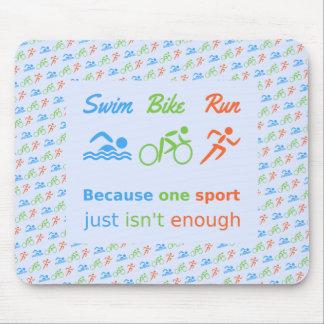 Triathlon swim bike run pictogram quote mouse mat
