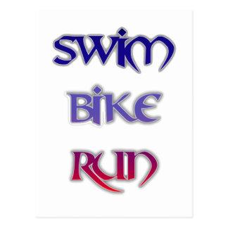 Triathlon Swim Bike Run Postcard