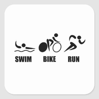 Triathlon Swim Bike Run Square Sticker