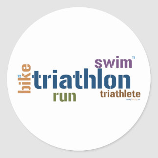 Triathlon Text Classic Round Sticker
