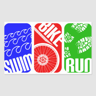 Triathlon TRI Color Blocks Rectangular Sticker