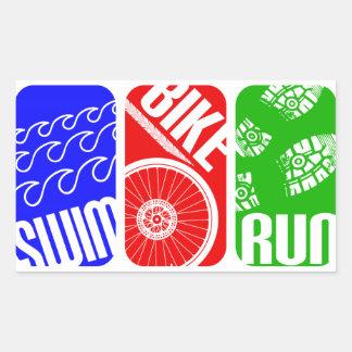 Triathlon TRI Color Blocks Rectangular Sticker