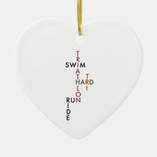 Triathlon tri hard ceramic heart decoration