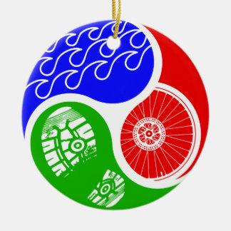 Triathlon TRI Yin Yang Round Ceramic Decoration