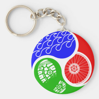 Triathlon TRI Yin Yang Basic Round Button Key Ring