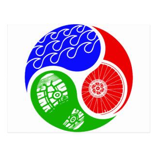 Triathlon TRI Yin Yang Postcard