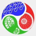 Triathlon TRI Yin Yang Round Sticker