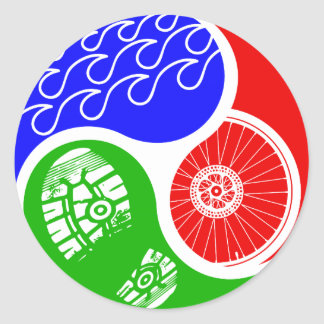 Triathlon TRI Yin Yang Round Sticker