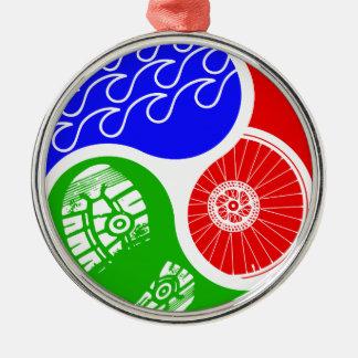 Triathlon TRI Yin Yang Silver-Colored Round Decoration
