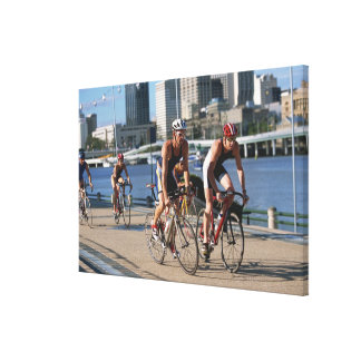 Triathloners Cycling Canvas Print