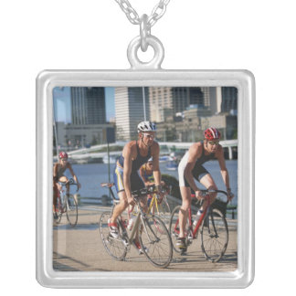 Triathloners Cycling Silver Plated Necklace