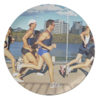Triathloners Running 2 Party Plate