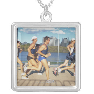 Triathloners Running 2 Silver Plated Necklace