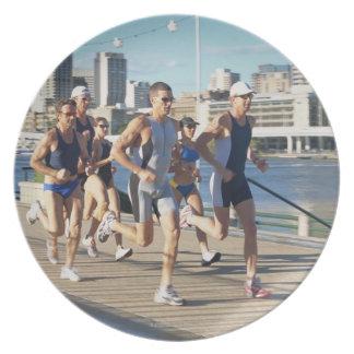 Triathloners Running 3 Plate