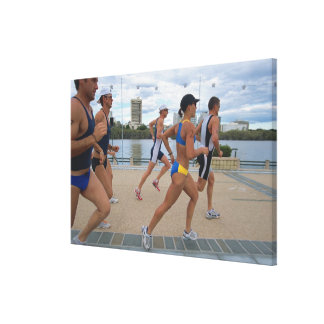 Triathloners Running 4 Stretched Canvas Print